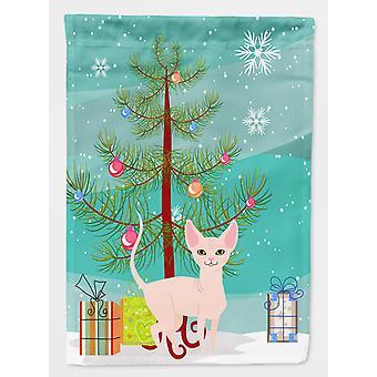 Carolines Treasures  BB4432GF Sphynx Cat Merry Christmas Tree Flag Garden Size