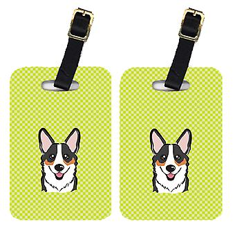 Carolines Treasures  BB1317BT Pair of Checkerboard Lime Green Corgi Luggage Tags