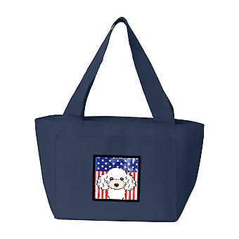 Carolines tesori BB2187NA-8808 bandiera americana e barboncino bianco Lunch Bag