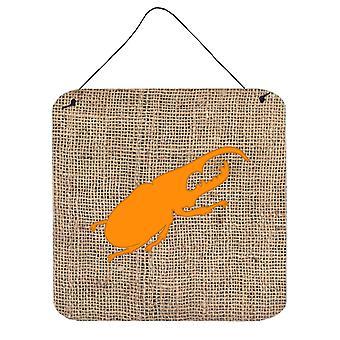 Beetle Burlap and Orange Aluminium Metal Wall or Door Hanging Prints BB1056