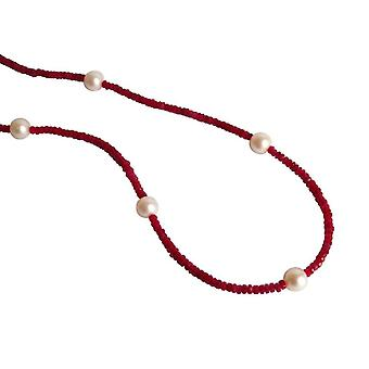 Gemshine - ladies - necklace - gold - Ruby - Red - Pearl - White - 45 cm
