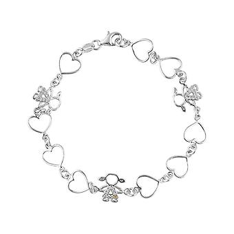Sterling Silver 925 Ladies Womens Hearts Girls Charms Friendship Stylish Bracelet with Premium Shining CZ Stones