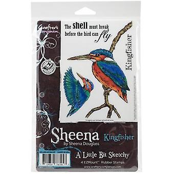 Sheena's A Little Bit Sketchy Tropical Bird EZMount Stamps-Kingfisher SDLBSKFI