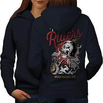 Riders Dead Hands Biker Women NavyHoodie Back | Wellcoda