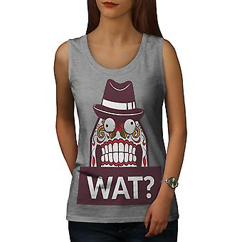 Skull What Funny Women GreyTank Top | Wellcoda