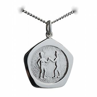 Zilver 21mm vijf zijdige Gemini Zodiac met een Curb chain