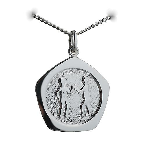 Silver 21mm five sided Gemini Zodiac Pendant with a curb Chain 22 inches