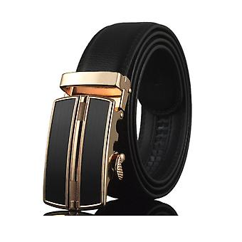 Men's black leather belt and buckle in steel black and gold