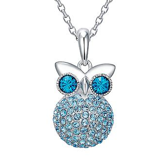 Pendant Crystal Swarovski Elements blue OWL and Rhodium plate