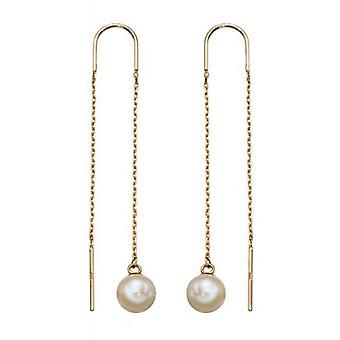 Elements Gold Thread Through Freshwater Pearl Drop Earrings - Gold/White