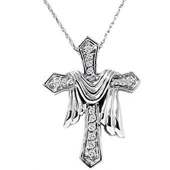 1/4ct Real Diamond Fancy Cross Pendant 14K Necklace