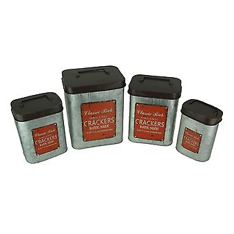Set of 4 Vintage Look Galvanized Metal Kitchen Canisters