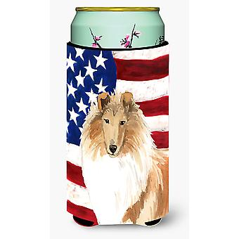 Patriotic USA Rough Collie Tall Boy Beverage Insulator Hugger