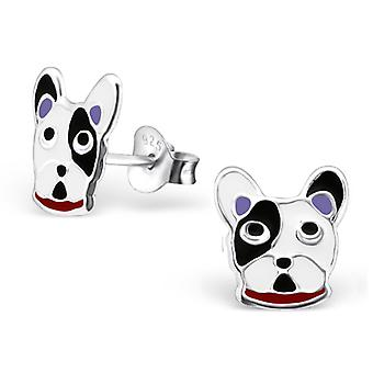 Dog Face - 925 Sterling Silver Colourful Ear Studs