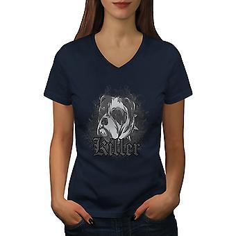 Killer Bulldog Cute Dog Women NavyV-Neck T-shirt | Wellcoda