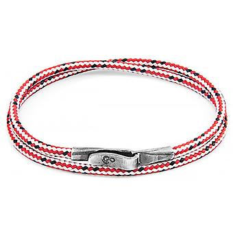 Anchor and Crew Liverpool Silver and Rope Bracelet - Red Dash