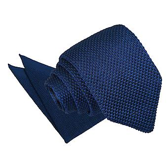 Navy Blue Knitted Slim Tie & Pocket Square Set