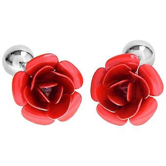 David Van Hagen Enamel Rose Flower Cufflinks - Red/Silver