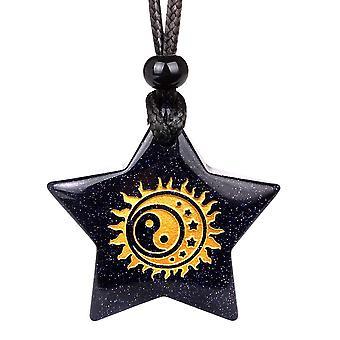 Magiske Super Star Yin Yang Sun Moon Positive beføjelser Amulet Goldstone heldig vedhæng halskæde