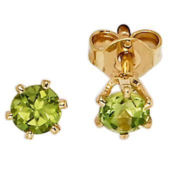 Gemstone Stud Earrings 585 gold yellow gold Peridot green earrings gold gemstone earrings