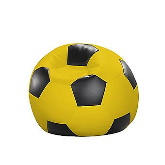 Bean bag cushion soccer yellow black leatherette 90 x 90 x 90 cm