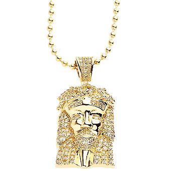 Iced Out Bling Micro Pave Kette - MINI JESUS gold lemonade