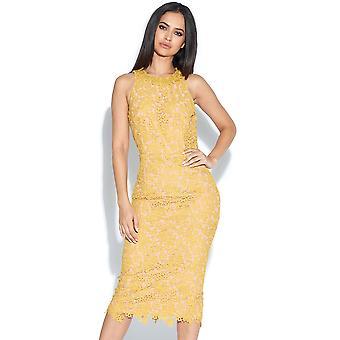 Mustard Lace Pencil Dress