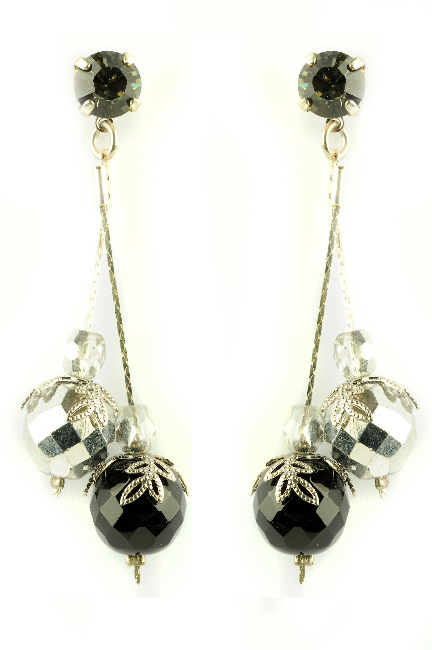 Waooh - Fashion Jewellery - WJ0696 - D'Oreille earrings with Swarovski Strass Black & Silver - Silver Color Frame