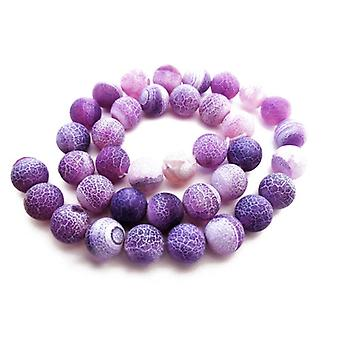 Strand 45+ Purple Frosted Cracked Agate 8mm Plain Round Beads GS16121-2