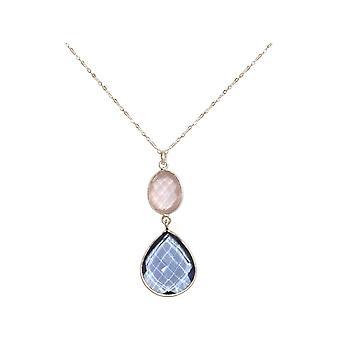 GEMSHINE collar rosa cuarzo azul topacio cuarzo 925 plata, chapado en oro, rosa