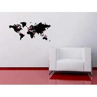World Map Wall Sticker With Pointers