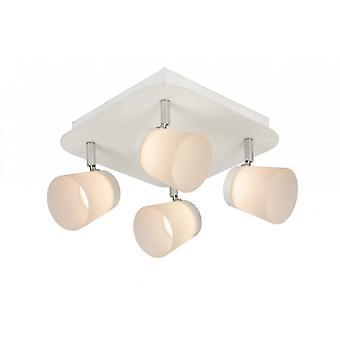 Lucide Heloïse-LED moderne runde metall hvit og Opal taket Spot lys
