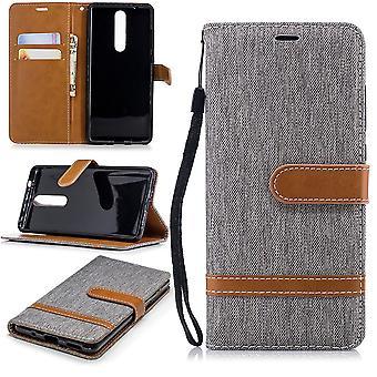 Caso para Nokia 5.1 jeans capa celular proteção luva case cinza