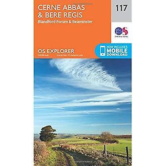 OS Explorer kaart (117) Cerne Abbas en Bere Regis, Blandford Forum en Beaminster
