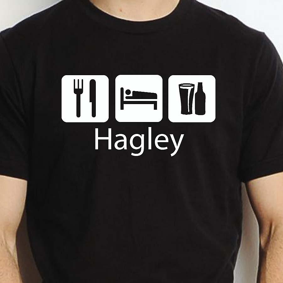 Eat Sleep Drink Hagley Black Hand Printed T shirt Hagley Town
