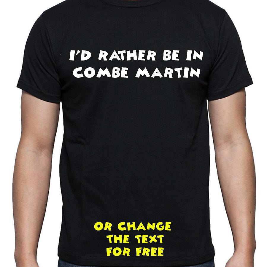 I'd Rather Be In Combe martin Black Hand Printed T shirt