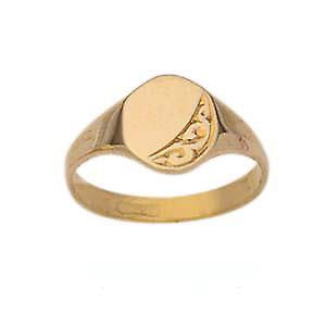 9ct Gold 6x5mm hand engraved oval ladies or babies Ring Size G