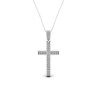 IGI Certified S925 Sterling Silver 0.075Ct TDW Diamond Cross Necklace