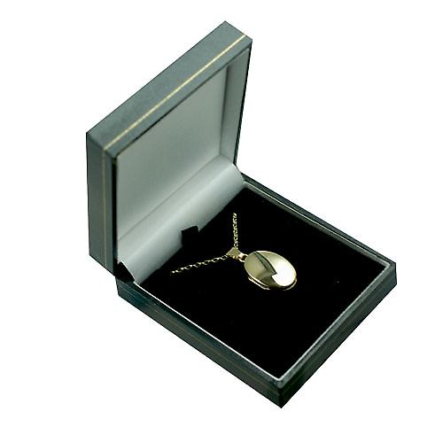 9ct Gold 22x15mm plain oval Locket with a belcher Chain 16 inches Only Suitable for Children