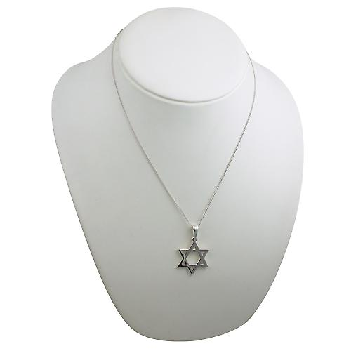 Silver 31x27mm plain Star of David Pendant on a bail with a curb chain