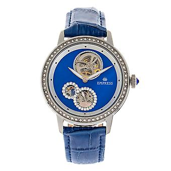 Empress Tatiana Automatic Semi-Skeleton Leather-Band Watch - Blue