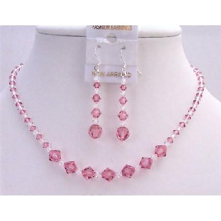 Custom Bridesmaid Bridal Jewelry Set Swarovski Rose Clear Crystals