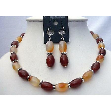 Genuine Carnelian & Focal Bead Necklace Set w/ Bali Silver Spacing & Genuine Sterling Silver Earrings