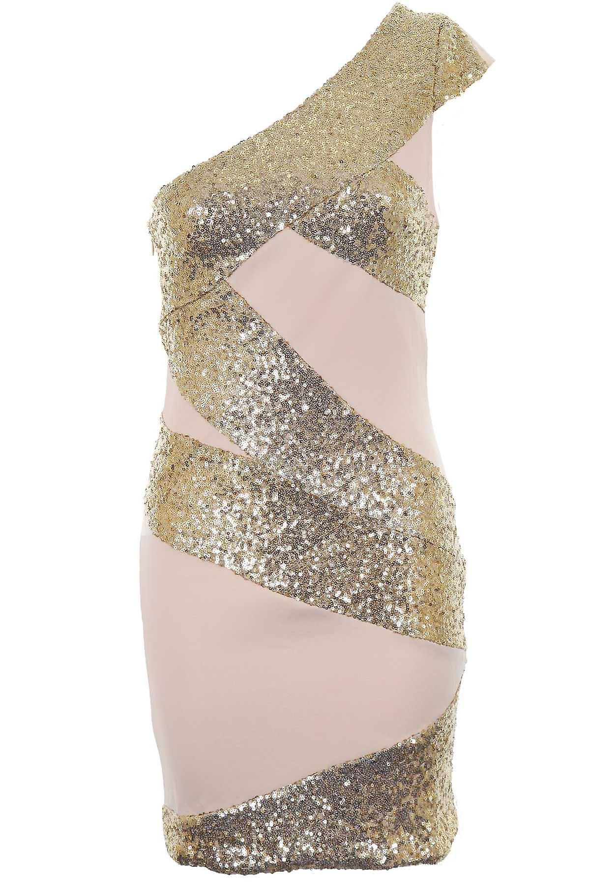 Ladies One Shoulder Sequin Contrast Women's Party Club Cocktail Bodycon Dress