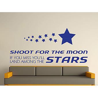 Shoot For The Moon Wall Art Sticker - Dark Blue