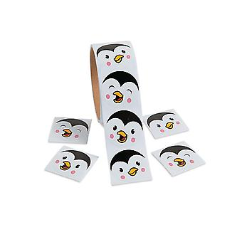 Roll of 100 Christmas Penguin Face Stickers for Kids | Kids Christmas Stickers