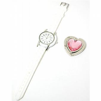 Paris Hilton White Strap Ladies Fashion Watch and Heart Handbag Holder HWX007A