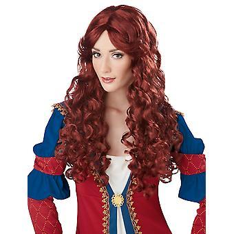 Renaissance Medieval Maiden Princess Auburn Story Book Week Womens Costume Wig