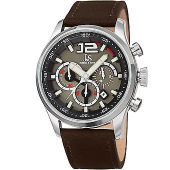 Joshua & Sons Men's Quartz Deep-Set Dial Chronograph On Geniune Leather Strap Watch JX137BR