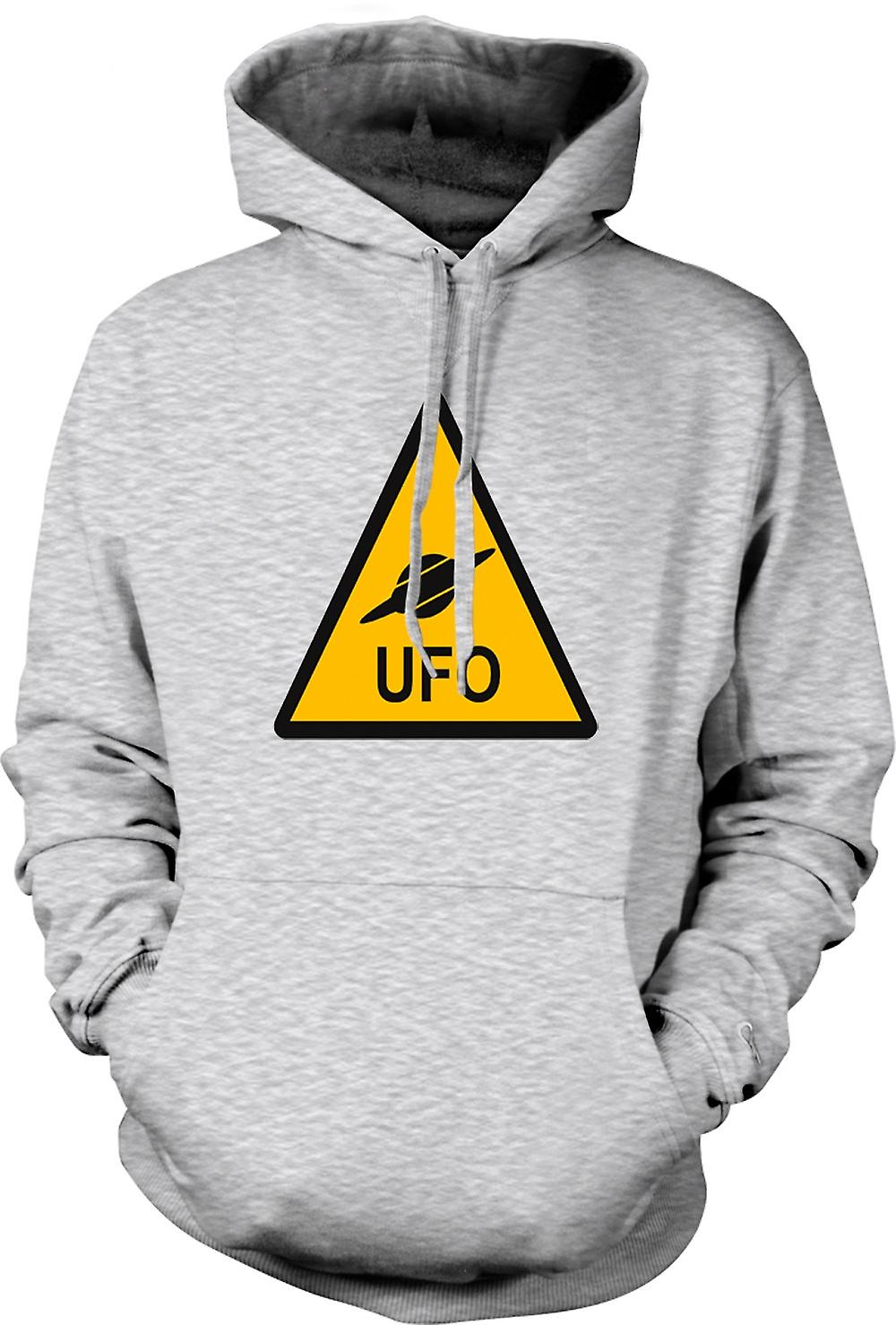Mens Hoodie - UFO varningstecken - roliga barn